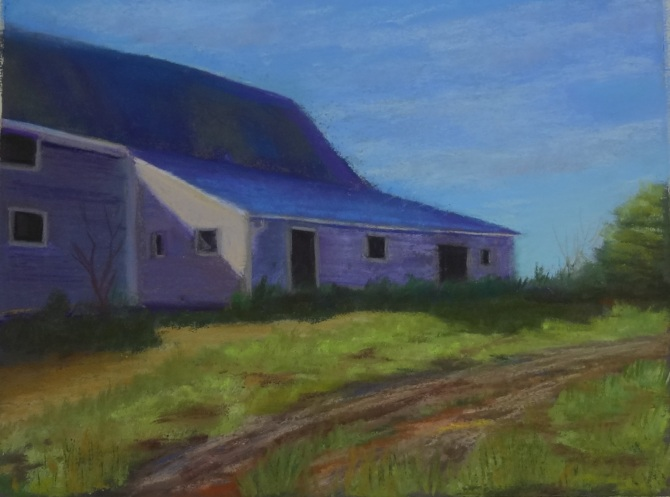 Baike's Barn in Summer 9 by 12 on pastel paper