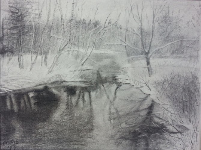 A walk in the Pemi in Winter charcoal on paper 12 by 16
