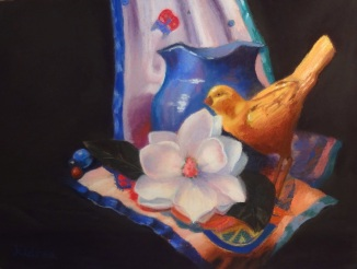 Still Life with Magnolia  12 by 16 Pastel on Richeson Panel