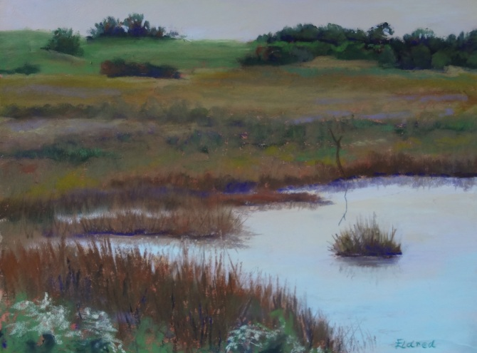 Morning Marsh 9 by 12 Pastel on paper