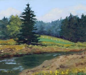 Done plein air on the Road to Port Clyde in 2020. A favorite place to paint
